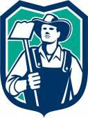 Organic Farmer Holding Grab Hoe Shield — Vecteur