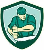 Lumberjack Crosscut Saw Shield Retro — Stock Vector