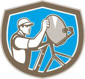 TV Satellite Dish Installer Shield Retro — Stock Vector