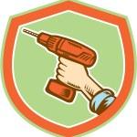 Handyman Hand Holding Cordless Drill Retro — Stock Vector #52632239