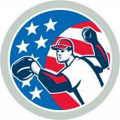 American Baseball Pitcher Throwing Ball Retro — Stock Vector