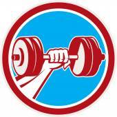Hand Lifting Dumbbell Front Circle Retro — Stock Vector