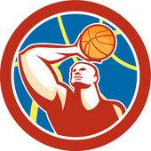 Basketball Player Shooting Ball Circle Retro — Stock Vector