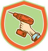 Handyman Hand Holding Cordless Drill Retro — Stock Vector