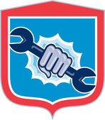 Mechanic Hand Holding Spanner Shield Punching  — Stock Vector