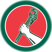 Hand Holding Adjustable Wrench Circle Woodcut — Stock Vector