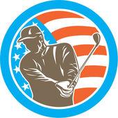 American Golfer Playing Golf Circle Retro — Stock Vector
