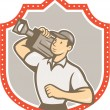 Постер, плакат: Cameraman Vintage Film Movie Camera Shield