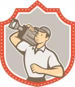 Cameraman Vintage Film Movie Camera Shield  — Stock Vector