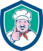 Chef Cook Happy Thumbs Up Shield Cartoon — Stock Vector
