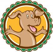 Dog Arms Out Rosette Cartoon — Stock Vector