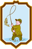 Fly Fisherman Fish On Reel Shield Cartoon — Vector de stock