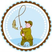 Fly Fisherman Fish On Reel Rosette Cartoon — Vector de stock