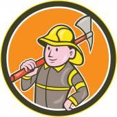 Fireman Firefighter Axe Circle Cartoon — Stock Vector