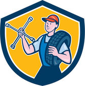 Mechanic With Tire Wrench Shield Cartoon — 图库矢量图片