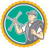 Mechanic With Tire Wrench Rosette Cartoon — 图库矢量图片