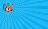 Business card Angry Bull Head Padlock Shield Retro — Zdjęcie stockowe