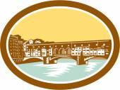 Arch Bridge Ponte Vecchio Florence Woodcut — Stock Vector