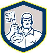 Locksmith Carry Key Shield Retro — Stock Vector