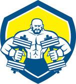 Bodybuilder Lifting Dumbbell Shield Retro — Stock Vector