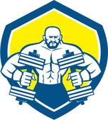 Bodybuilder Lifting Dumbbell Shield Retro — Stock Vector