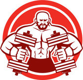 Bodybuilder Lifting Dumbbell Circle Retro — Stock Vector