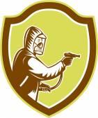 Pest Control Exterminator Spraying Shield Retro — Stock Vector