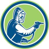 Pest Control Exterminator Spraying Circle Retro — Stock Vector