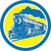 Steam Train Locomotive Circle Retro — Stock Vector