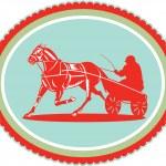 Horse and Jockey Harness Racing Rosette Retro — Stock Vector #53079257