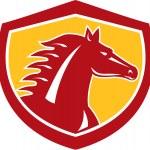 Horse Head Angry Shield Retro — Stock Vector #53079319