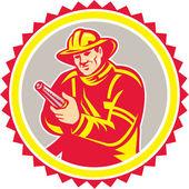 Fireman Firefighter Aiming Fire Hose Rosette — Stock Vector