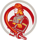 Fireman Firefighter Standing Folding Arms Circle — Stock Vector