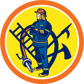 Fireman Firefighter Fire Hose Ladder Circle — Stock Vector