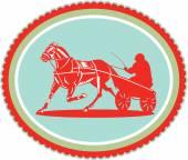 Horse and Jockey Harness Racing Rosette Retro — Stock Vector