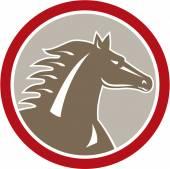 Horse Head Angry Circle Retro — Stock Vector