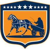 Horse and Jockey Harness Racing Shield Retro — Stock Vector