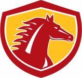 Horse Head Angry Shield Retro — Stock Vector