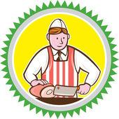 Butcher Chopping Ham Rosette Cartoon — Stock Vector