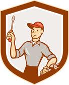 Electrician Screwdriver Plug Shield Cartoon — Stock Vector