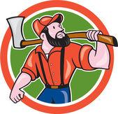 LumberJack Holding Axe Circle Cartoon — Stock Vector