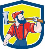LumberJack Holding Axe Shield Cartoon — Stock Vector