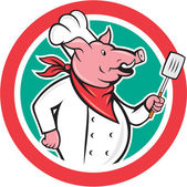 Pig Chef Cook Holding Spatula Circle Cartoon — Stock Vector