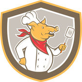 Pig Chef Cook Holding Spatula Shield Cartoon — Stock Vector