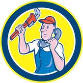 Plumber Monkey Wrench Telephone Circle Cartoon — Stock Vector