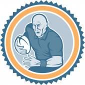 Rugby Player Running Ball Rosette Cartoon — Stock Vector