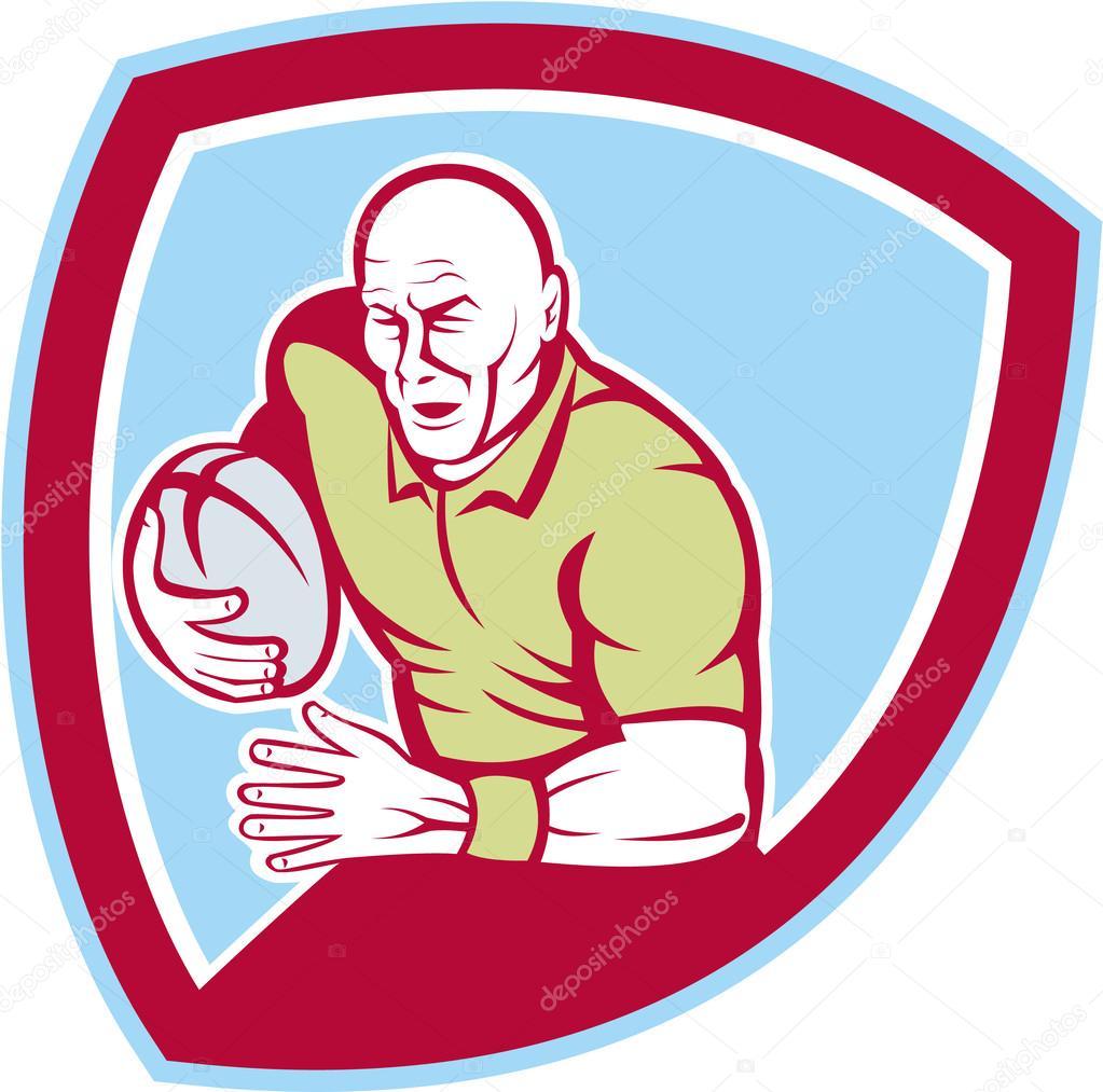 Giocatore di rugby in esecuzione dei cartoni animati