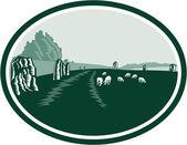 Avebury Stone Henge Circle Retro — Stock Vector