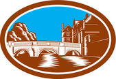 Trinity College Bridge Cambridge Woodcut — 图库矢量图片