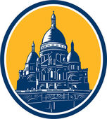 Dome of Sacre Coeur Basilica Paris Retro — Stock Vector